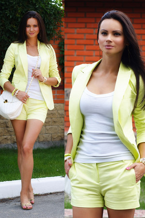 light yellow lemon yellow Victorias Secret suit