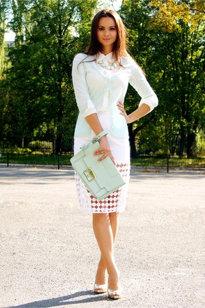 lazercut asos skirt - mint clutch asos bag