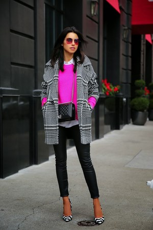 black Trina Turk coat - hot pink Finders Keepers sweater