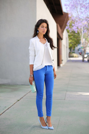 blue Bebe jeans - white StyleMint jacket - aquamarine Club Monaco bag