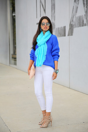 blue Topshop sweater - white Zara jeans - turquoise blue donni charm scarf