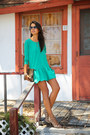 Green-lovers-friends-dress-light-brown-clare-vivier-bag