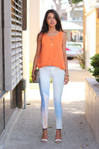 light orange Sheinside blouse - white rag & bone jeans