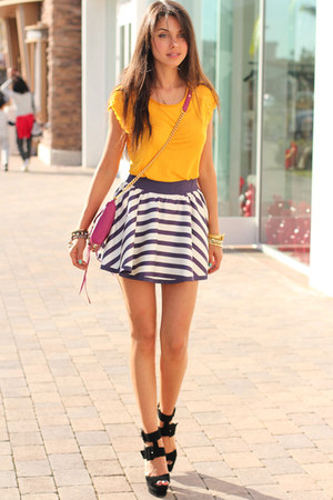 mustard ted baker top - magenta Rebecca Minkoff bag - navy ted baker skirt