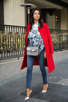 red Marni coat - navy J Brand jeans - silver Alexander Wang bag