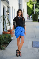blue Keepsake The Label skirt - black emporio armani bag - black Choies jumper
