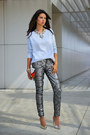 silver 7 for all mankind jeans - periwinkle J Crew sweater - red Celine bag