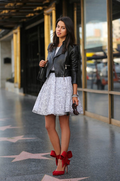 Black And White Dress With Red Heels