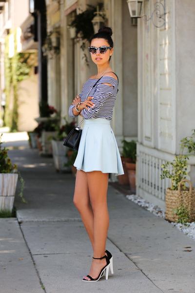 light blue cameo skirt - black asos heels - black Monopoly top