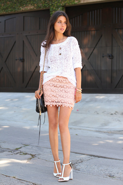 white DKNY sweater - black Rebecca Minkoff bag - pink GoodNight Macaroon skirt
