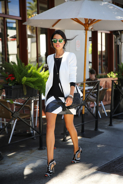 black bailey44 dress - white cameo blazer - black Gucci bag
