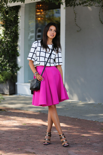hot pink cameo skirt - black Gucci bag - white Finders Keepers top