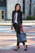 black Helmut Lang blazer - navy Plia Designs bag - black free people pants