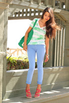 teal Gap bag - sky blue Zara jeans - white Gap t-shirt - coral Casadei heels