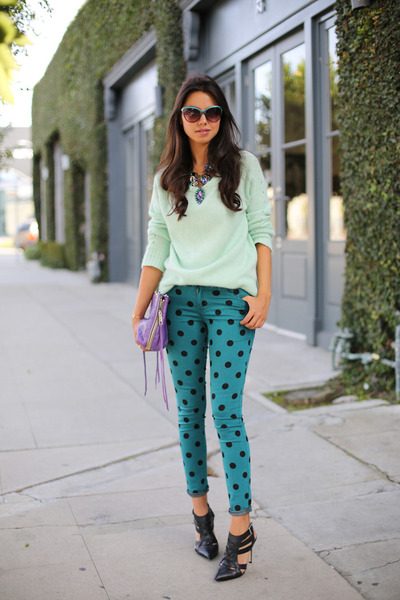 black shoemint heels - teal Paige jeans - light blue Bellatrix sweater