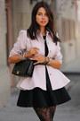 Light-pink-ted-baker-coat-black-hue-tights-black-cameo-skirt