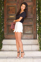 ivory asos skirt - maroon jack germain bag - black Aqua blouse