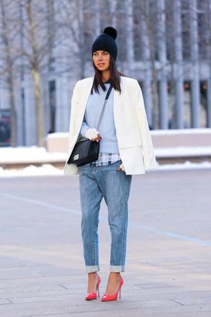 light blue Equipment sweater - black Chanel bag - navy Equipment blouse