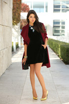 black Armani Exchange dress - maroon banana republic coat - black Zara bag