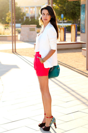 hot pink madewell skirt - turquoise blue Rebecca Minkoff bag