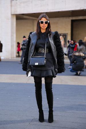 black stuart weitzman boots - black mcq alexander mcqueen jacket
