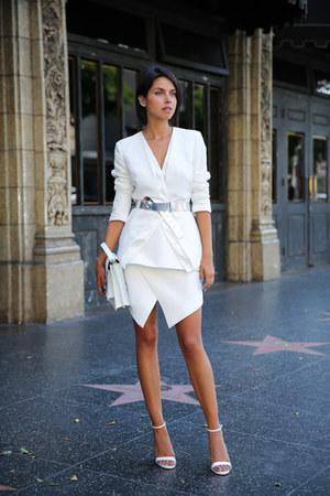 white cameo blazer - white loeffler randall bag - white cameo skirt