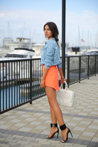 orange cameo skirt - periwinkle Nasty Gal shirt - white YSL bag