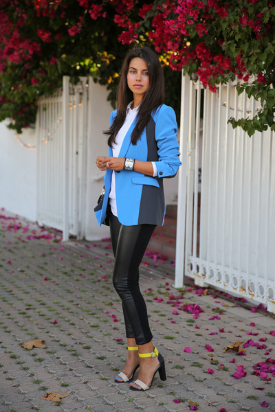 blue rag & bone blazer - white Zara sweater - black Club Monaco leggings