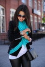 Teal-spun-by-subtle-luxury-scarf-black-zadig-voltaire-jacket
