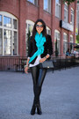 Black-zadig-voltaire-jacket-teal-spun-by-subtle-luxury-scarf