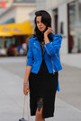Black-style-stalker-dress-blue-club-monaco-jacket-black-valentino-heels