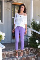 off white DKNY sweater - light purple Denimocracy jeans - off white Tibi heels