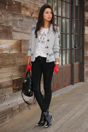 black Zara boots - heather gray True Religion sweater - white J Crew t-shirt