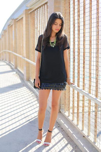 black Rebecca Minkoff bag - black MINUSEY skirt - white Tibi heels