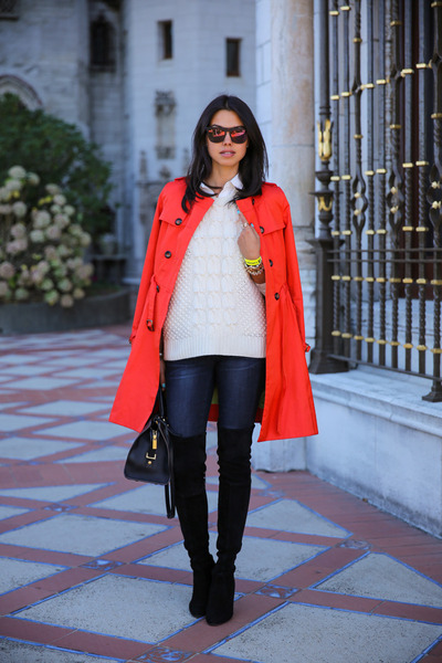 red Cole Haan coat - black stuart weitzman boots - ivory J Crew sweater