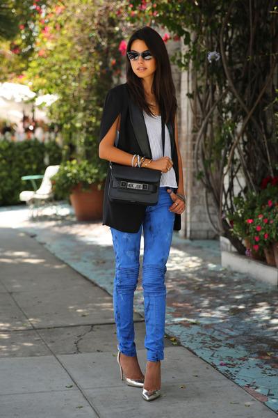 black PROENZA SCHOULER bag - blue Hudson jeans - black Nasty Gal blazer