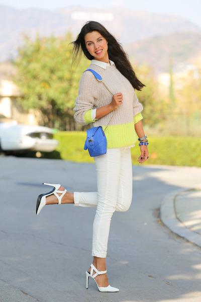 blue Angel Jackson bag - white James Jeans jeans - yellow madewell sweater