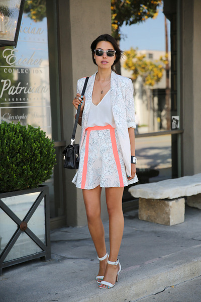 light pink cameo suit - black PROENZA SCHOULER bag - white coach heels