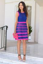 blue Nanette Lepore dress - hot pink Rebecca Minkoff bag - white Tibi heels