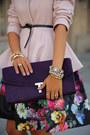 Light-pink-ted-baker-coat-deep-purple-ted-baker-bag-black-ted-baker-skirt
