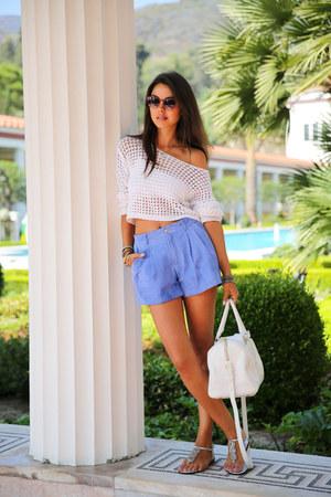 white YSL bag - red BonLook sunglasses - silver Aleeyas sandals