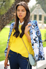 Blue-bebe-blazer-yellow-525-america-sweater-sky-blue-rebecca-minkoff-bag