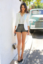 ivory Maje blazer - ivory H & M shirt - green H & M shorts