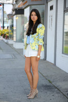 light yellow rag & bone blazer - white cameo shorts - periwinkle Zara blouse