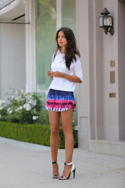 white Zara sweater - blue Lovers  Friends shorts - white LAMB heels