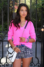 White-rebecca-minkoff-bag-hot-pink-j-crew-sweater-white-j-crew-shorts