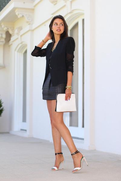 black AGAIN skirt - black Helmut Lang blazer - off white 31 Phillip Lim bag