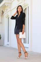 black AGAIN skirt - black Helmut Lang blazer - off white 31 Phillip Lim bag
