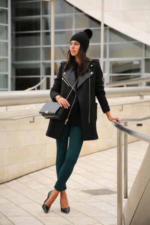 black Juicy Couture coat - teal Black Orchid jeans - black BCBG hat