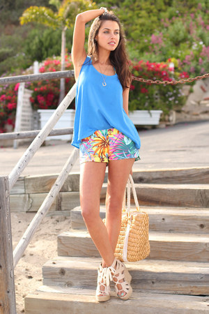Zara shorts - Michael Kors bag - Dolce Vita wedges - Zara top